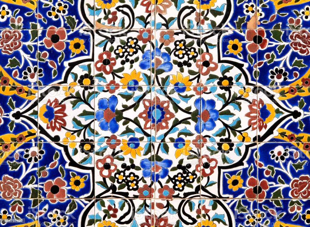 Persian tiles - floral pattern stock photo
