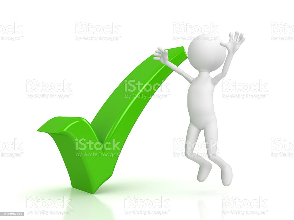 Person and green checkmark on white background stock photo