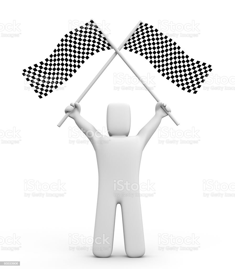Person and two checker flag royalty-free stock photo