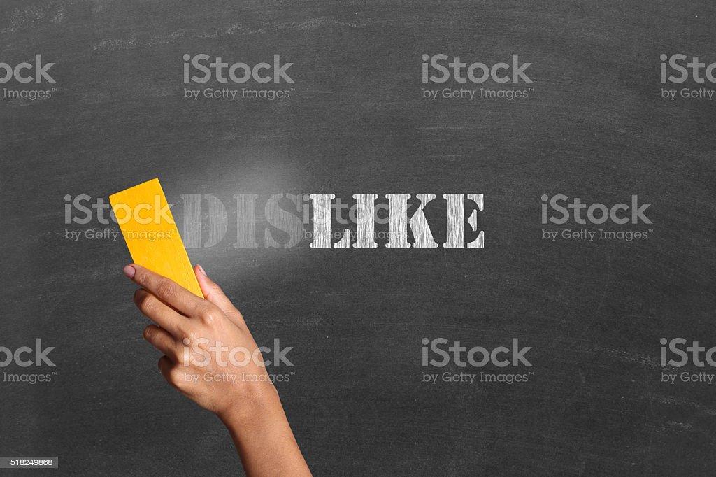 Person changing dislike to like on Blackboard stock photo