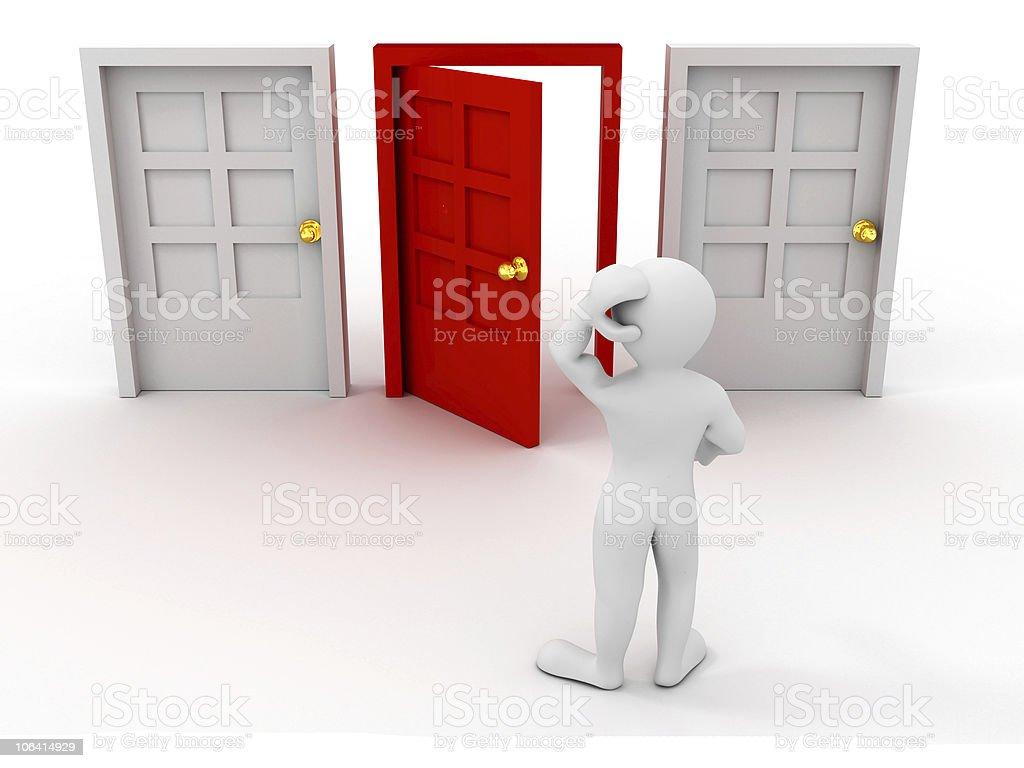 person chooses door. 3d stock photo