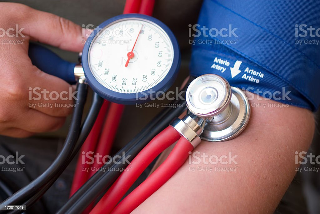 A person controlling and taking their blood pressure royalty-free stock photo