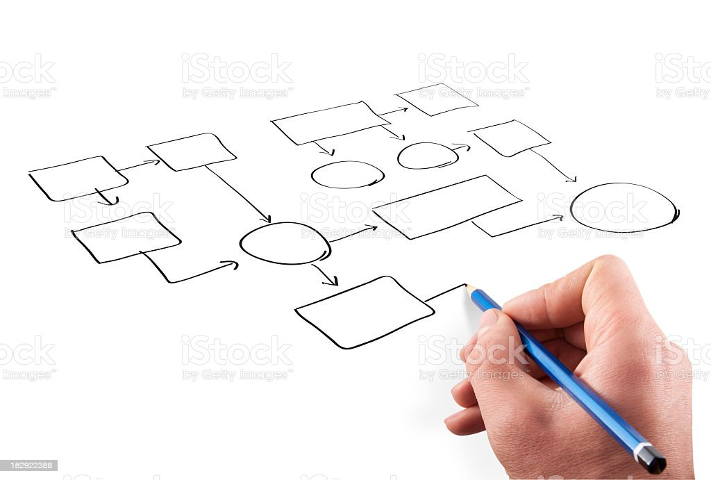 A person drawing a design on a white background stock photo