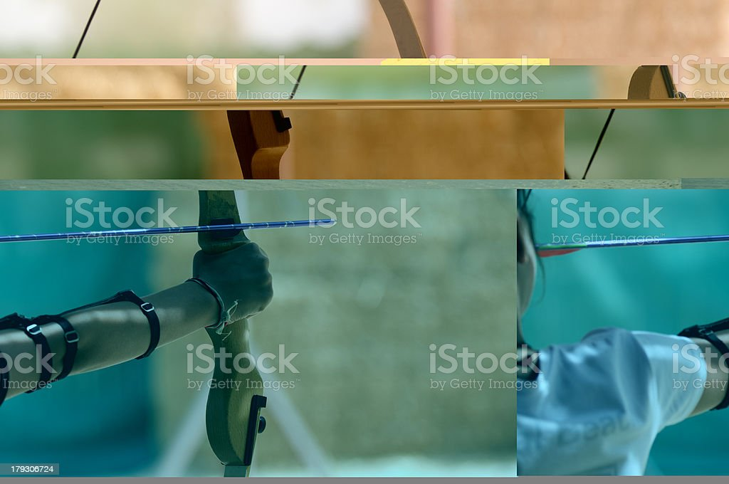 Person Drawing Back a Bow and Arrow royalty-free stock photo