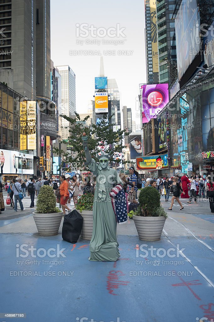 Person dressed as Statue of Liberty stock photo