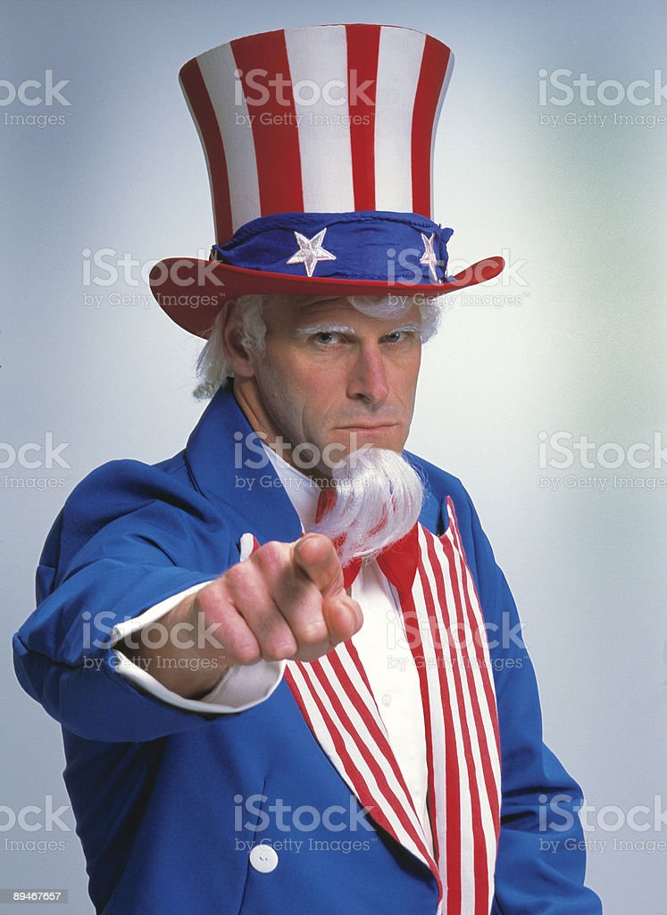 A person dressed as Uncle Sam saying I want you stock photo