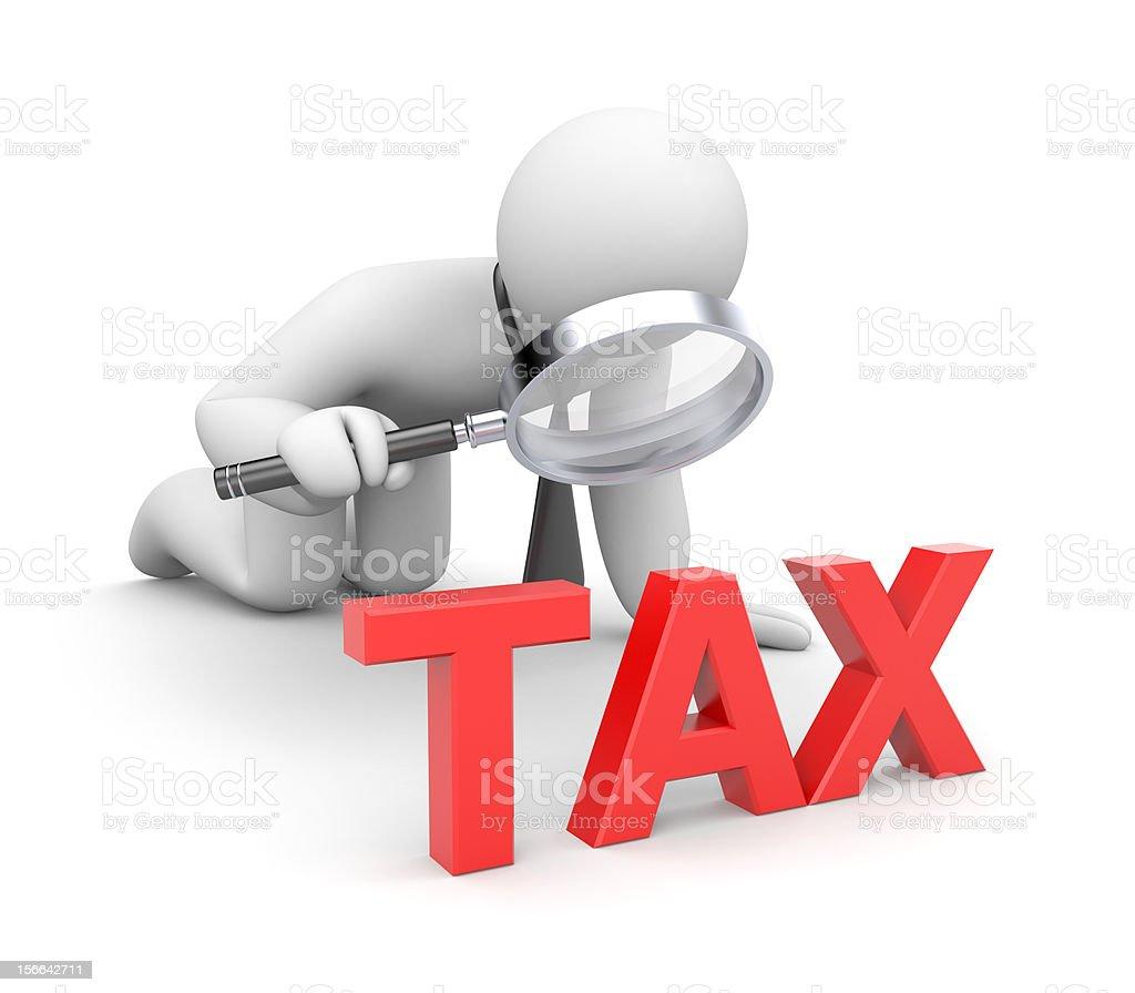 Person examines taxes royalty-free stock photo