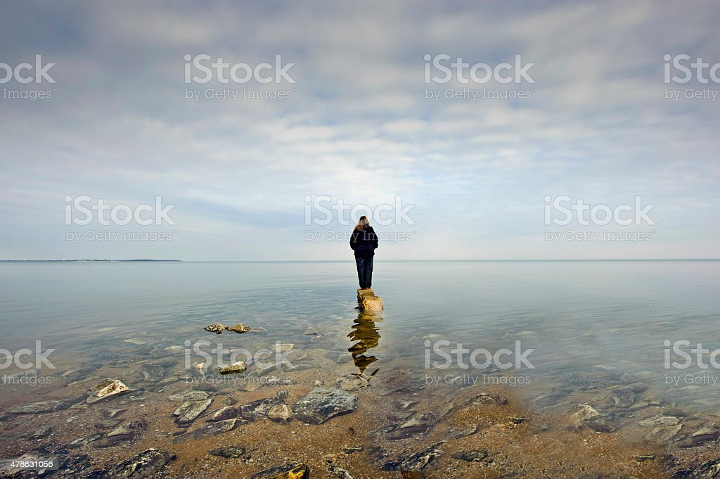 Person Gazing over the Chesapeake Bay stock photo