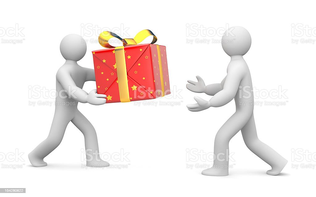 Person gives or delivers a gift royalty-free stock photo