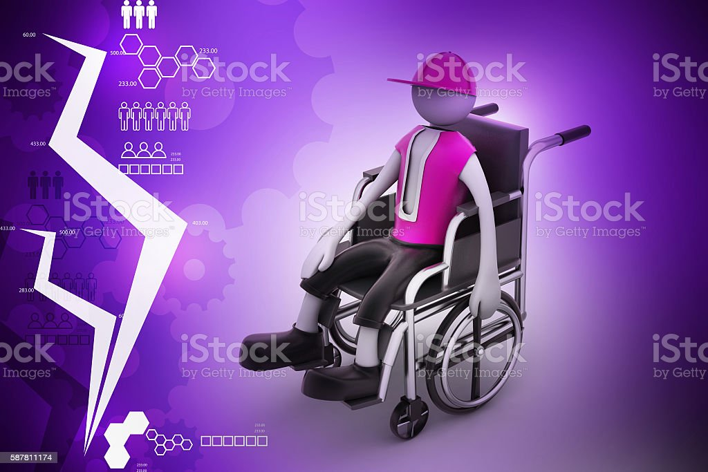 person handicapped in a wheelchair stock photo
