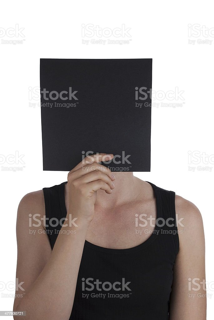 Person Hiding Behind Black Square stock photo