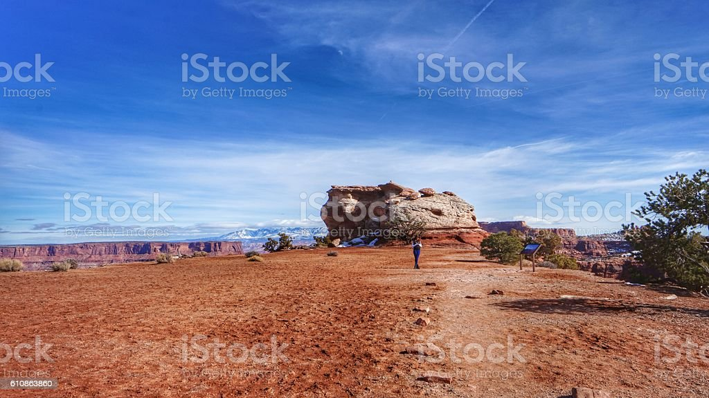 Person Hiker Walking Trail, Canyonlands Island In the Sky stock photo