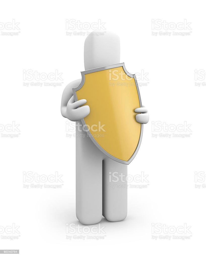 Person hold shield royalty-free stock photo