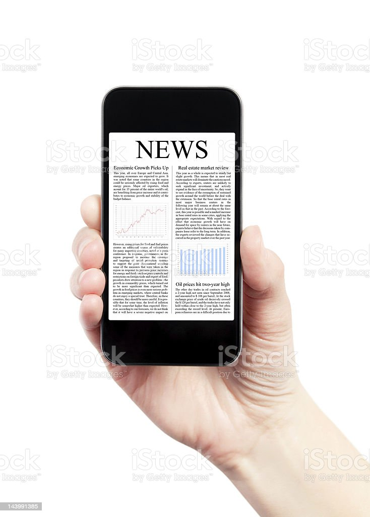 A person holding a mobile phone with news on it royalty-free stock photo