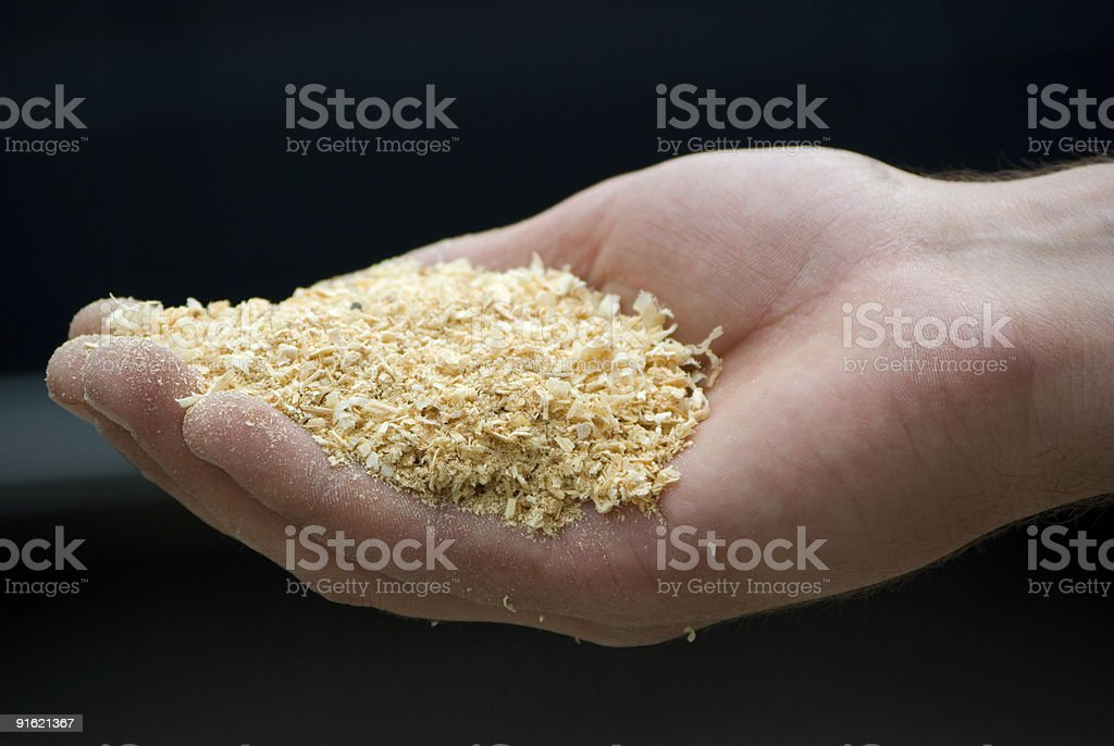 Person holding a pile of sawdust in their hand stock photo