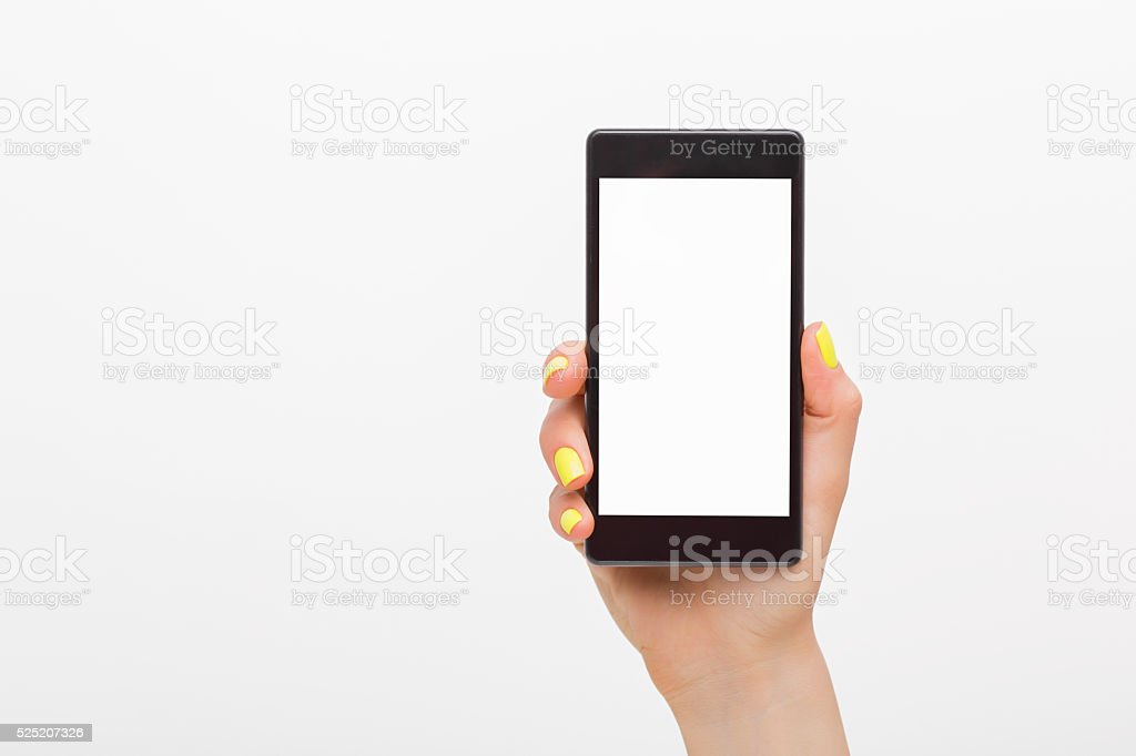 Person holding blank screen smartphone stock photo