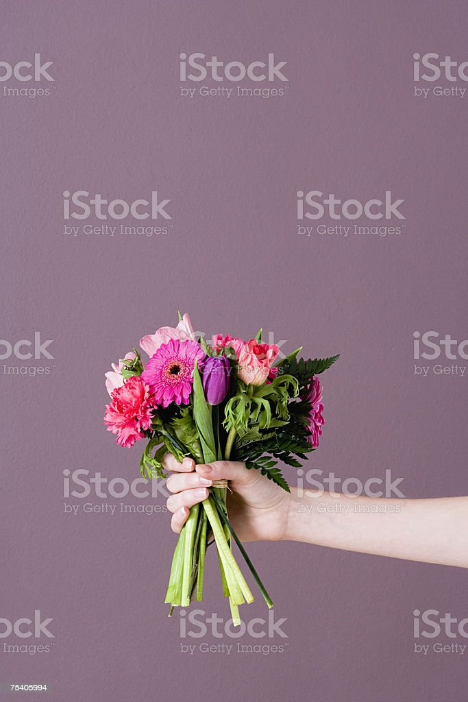 Person holding bunch of flowers stock photo