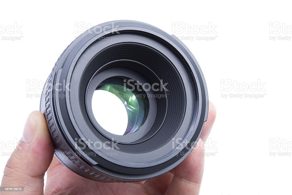 Person Holding Camera Lens royalty-free stock photo