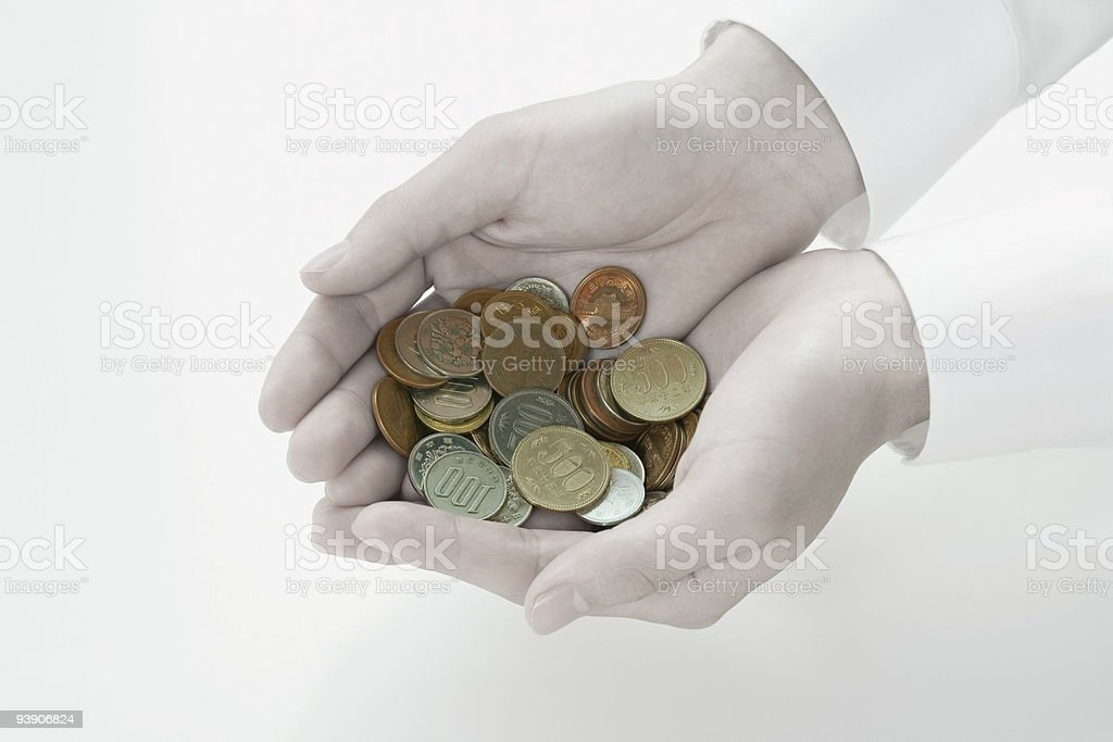 Person holding coins royalty-free stock photo