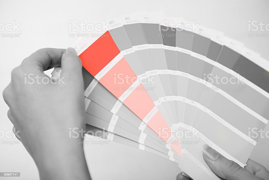 Person holding colour samples stock photo