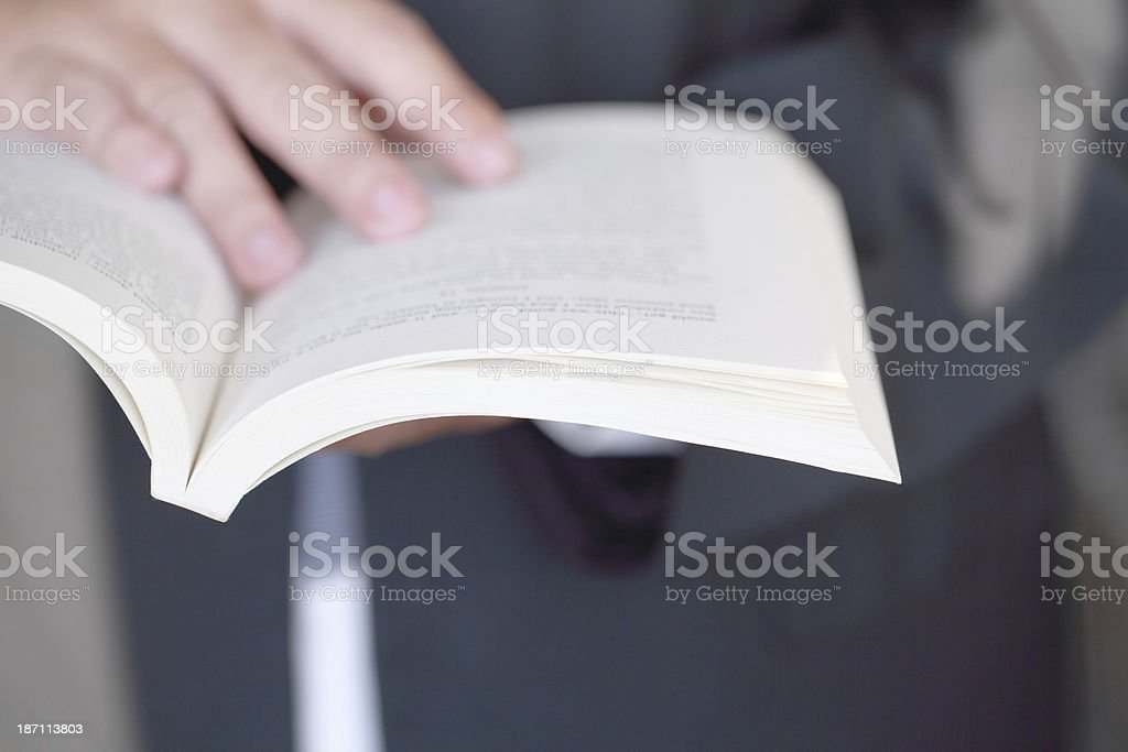 Person Holding Opened Book stock photo