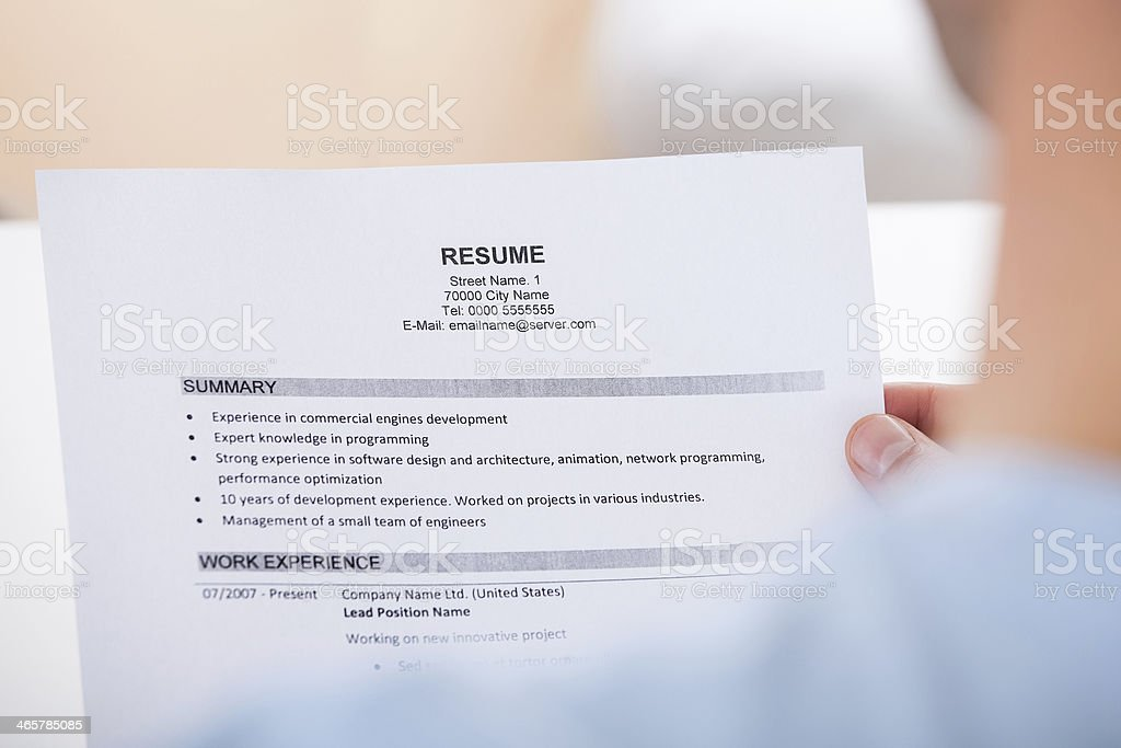 Person Holding Resume stock photo