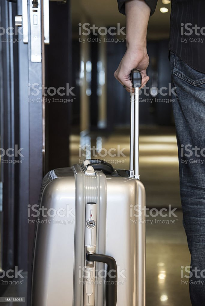 Person Holding Suitcase stock photo