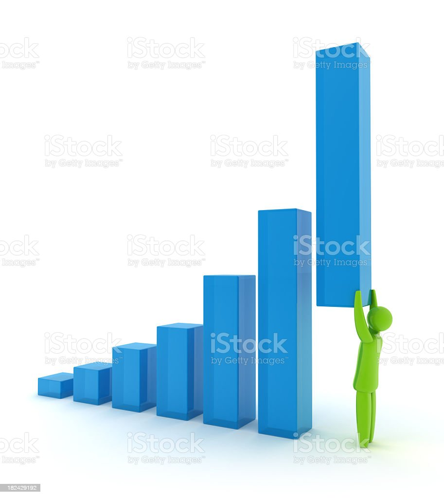 Person holding up a bar graph in an illustration royalty-free stock photo