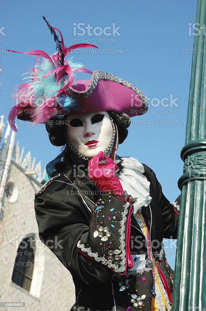 Person in costume at St. Mark's Square,Venice carnival,2011 royalty-free stock photo