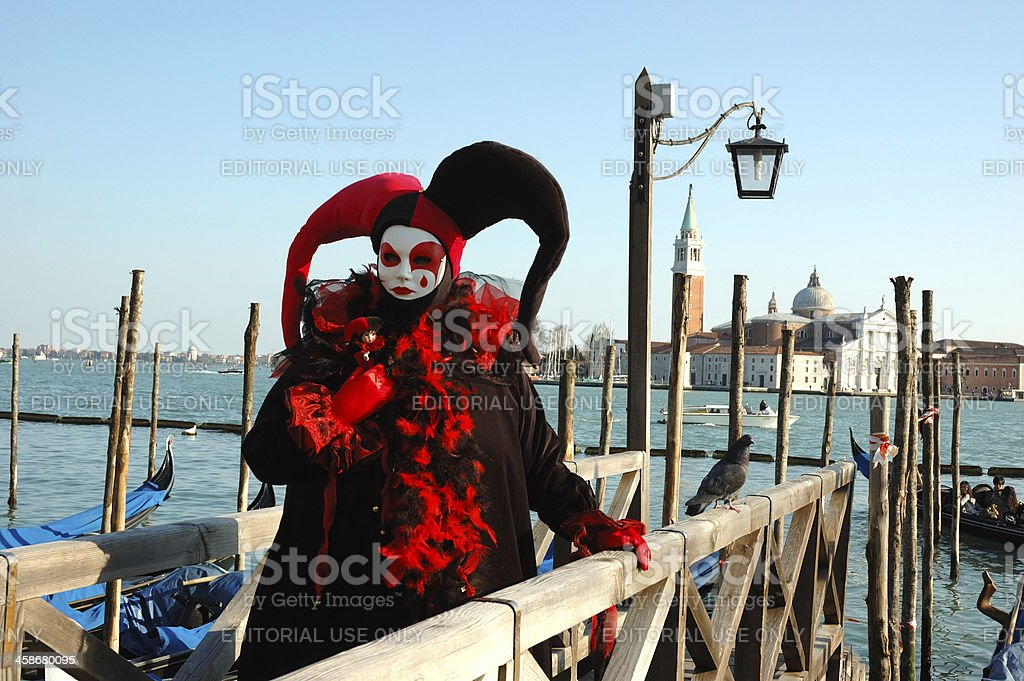 Person in Harlequin mask at St. Mark's Square,Venice Carnival royalty-free stock photo