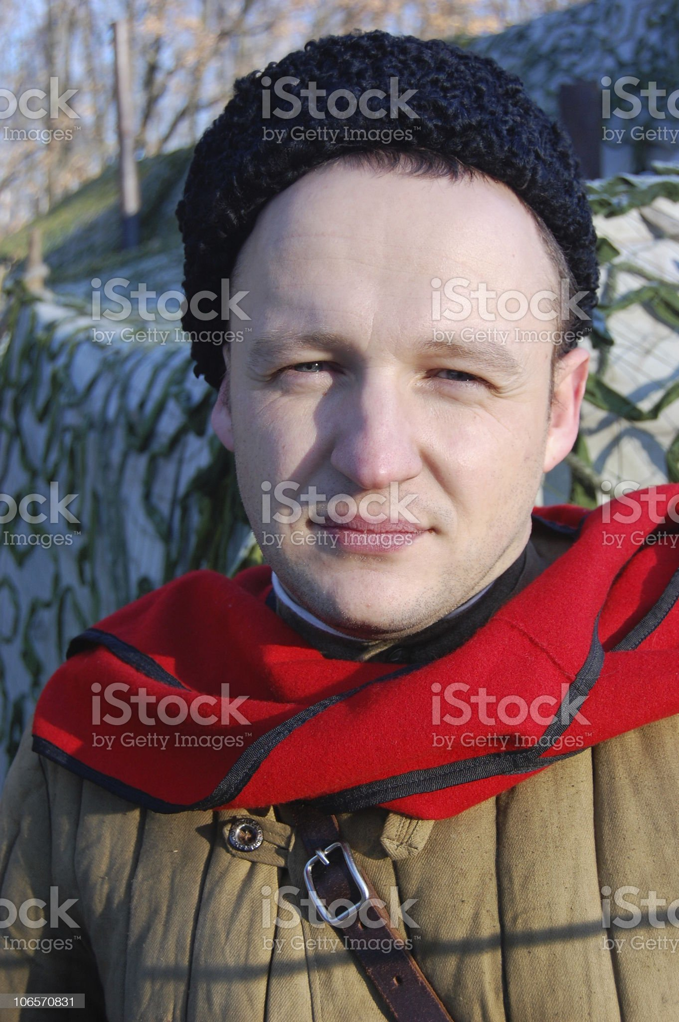 Person in Soviet WW2 military uniform. royalty-free stock photo