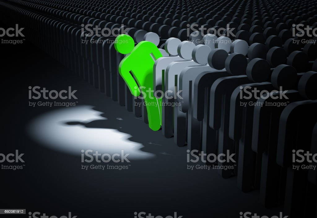 Person looks out from the crowd. 3d illustration stock photo
