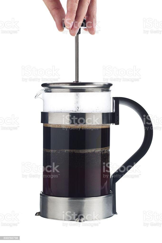 person opening coffee mug lid stock photo