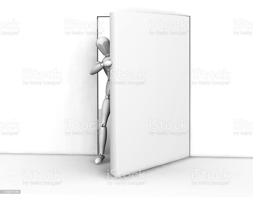 Person peeking round a door royalty-free stock photo