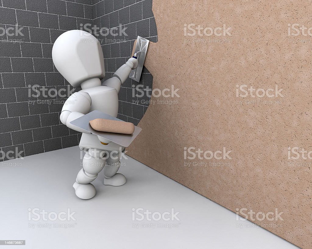 person plastering a  wall royalty-free stock photo