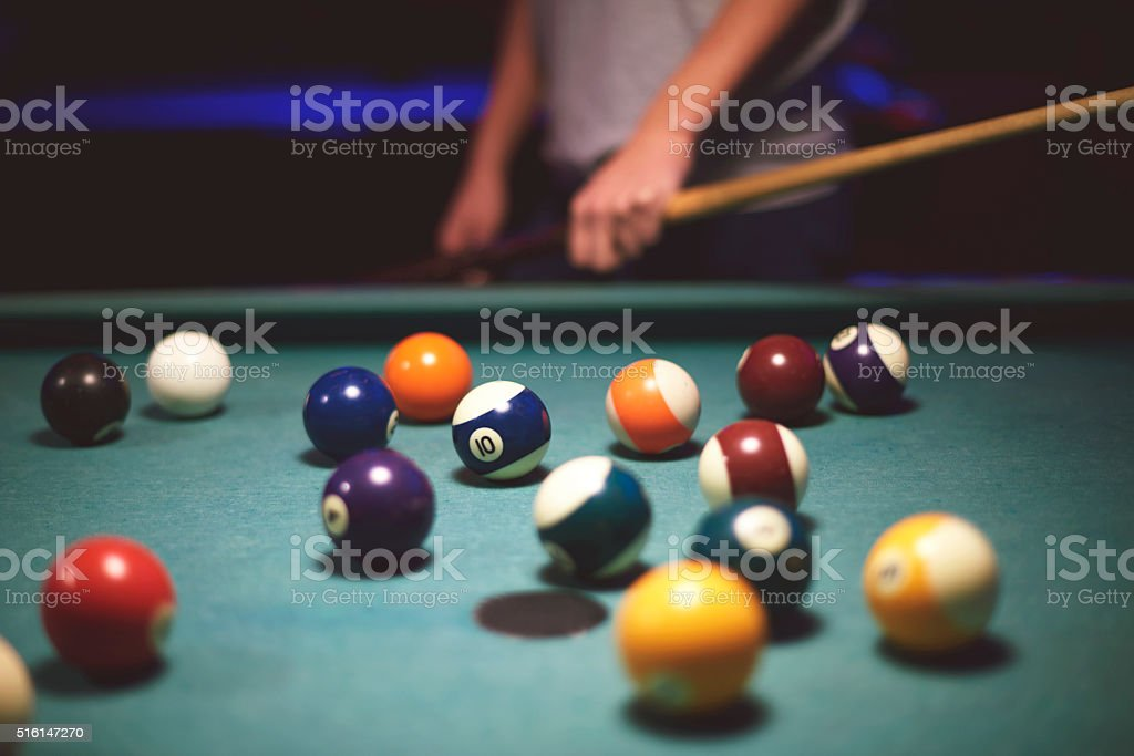 Person preparing for the snooker game stock photo