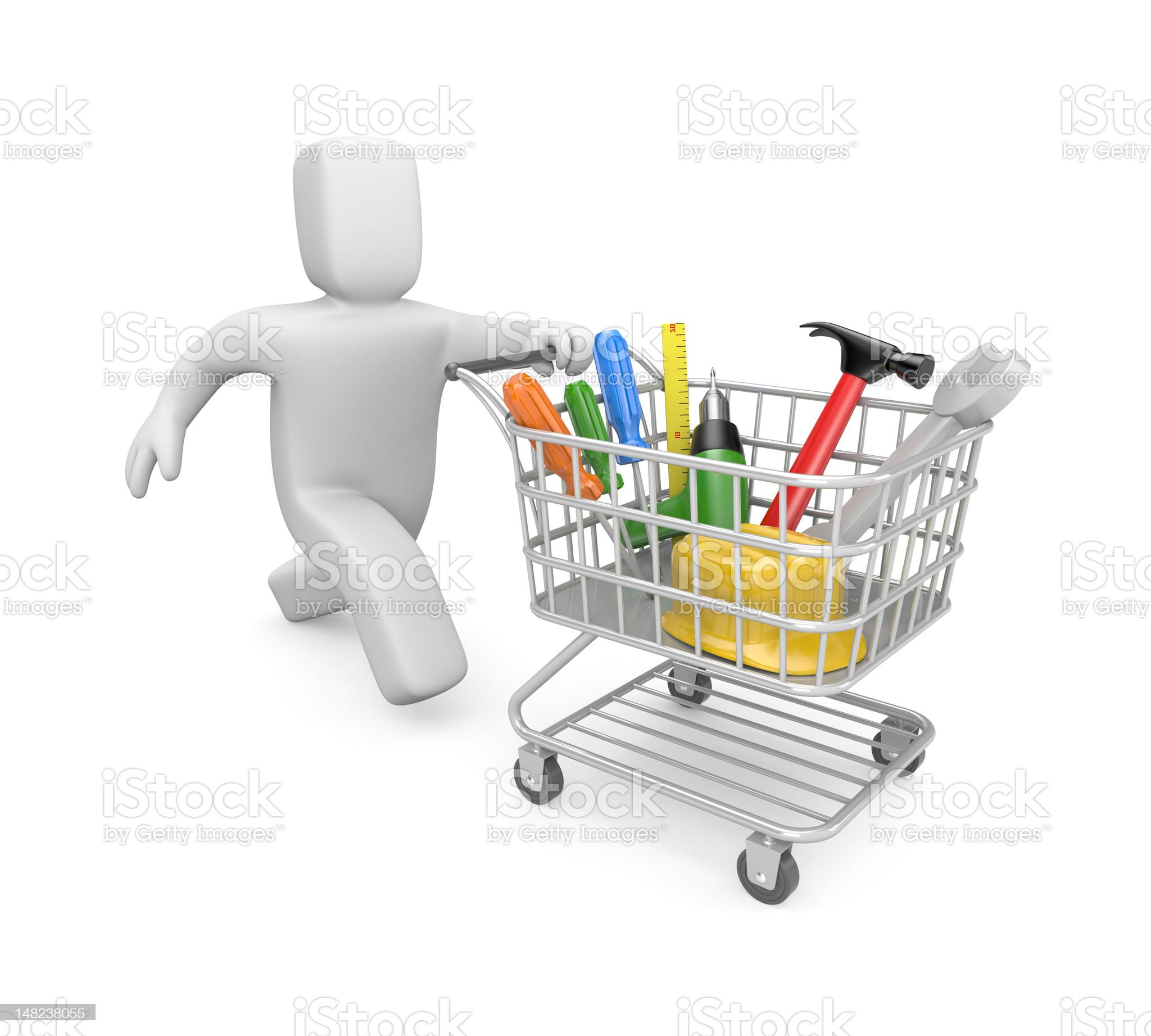 Person purchase of tools royalty-free stock vector art