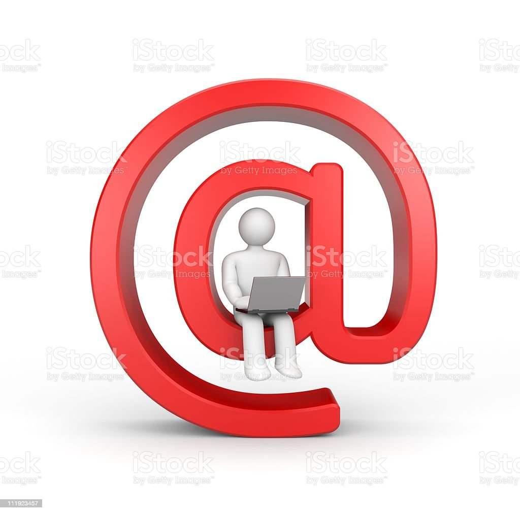 Person read emails or surfing in internet royalty-free stock photo