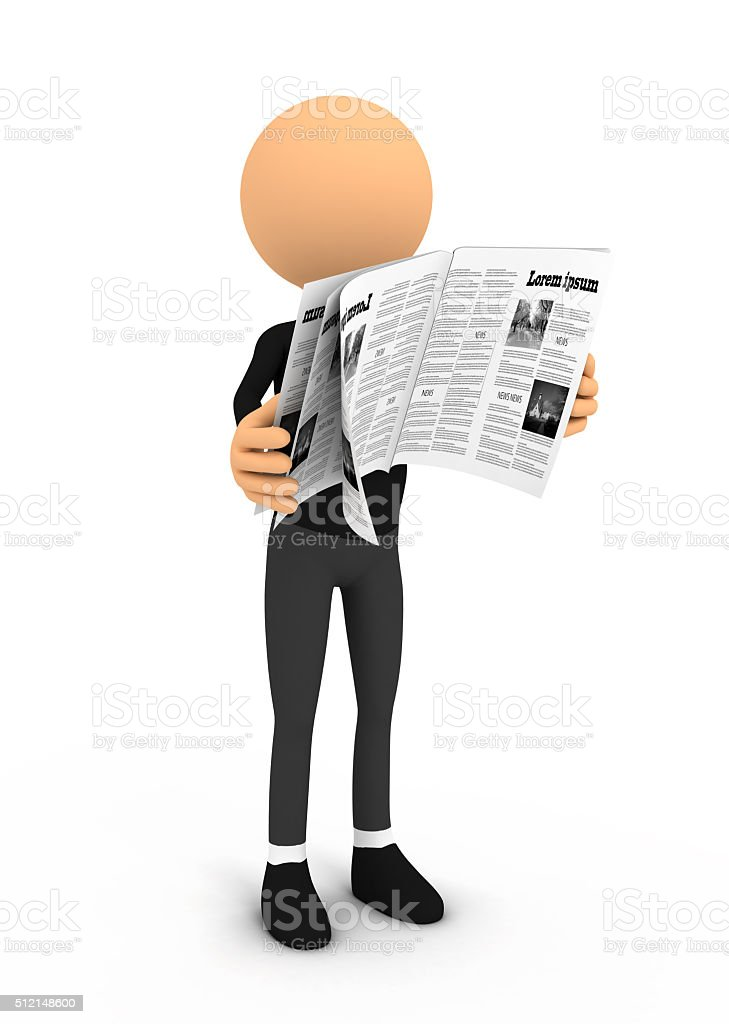 Person reading newspaper on white background stock photo