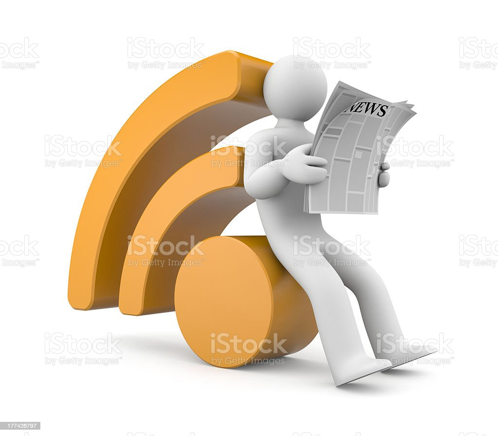 Person reading RSS news stock photo