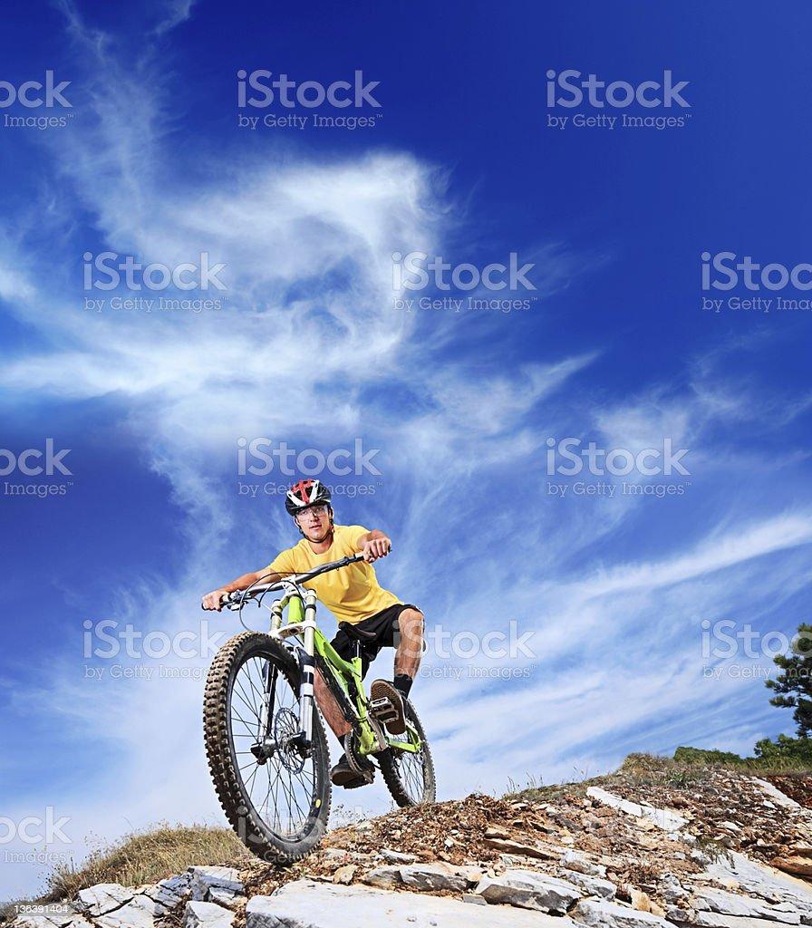 Person riding a mountain bike royalty-free stock photo