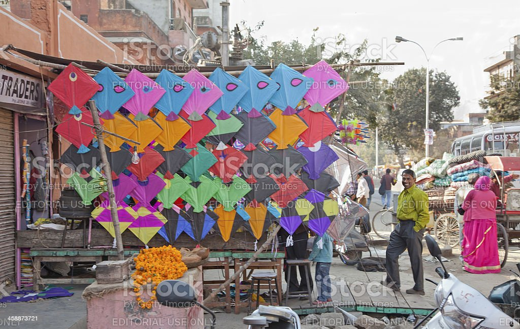 person selling children kite at jaipur india royalty-free stock photo