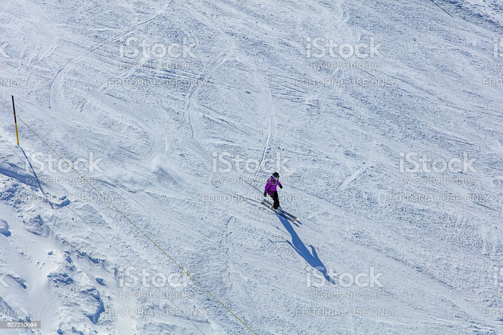 Person skiing on Mt. Titlis in Switzerland stock photo