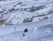 Person skiing on Mt. Titlis in Switzerland