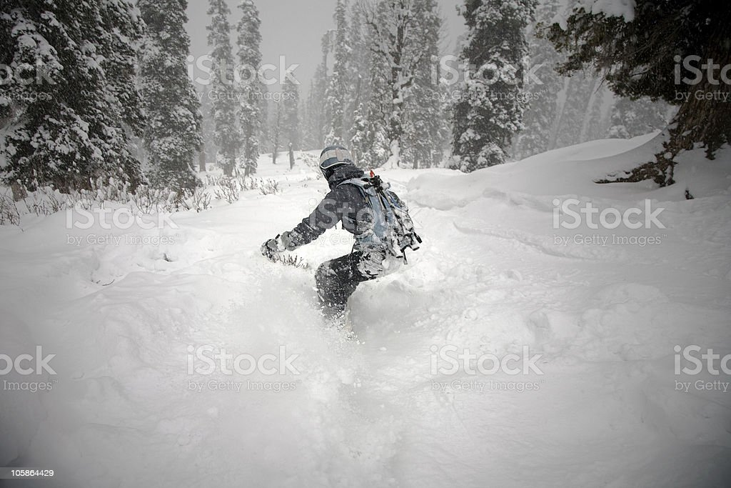 Person snowboarding in the Himalayan snow royalty-free stock photo