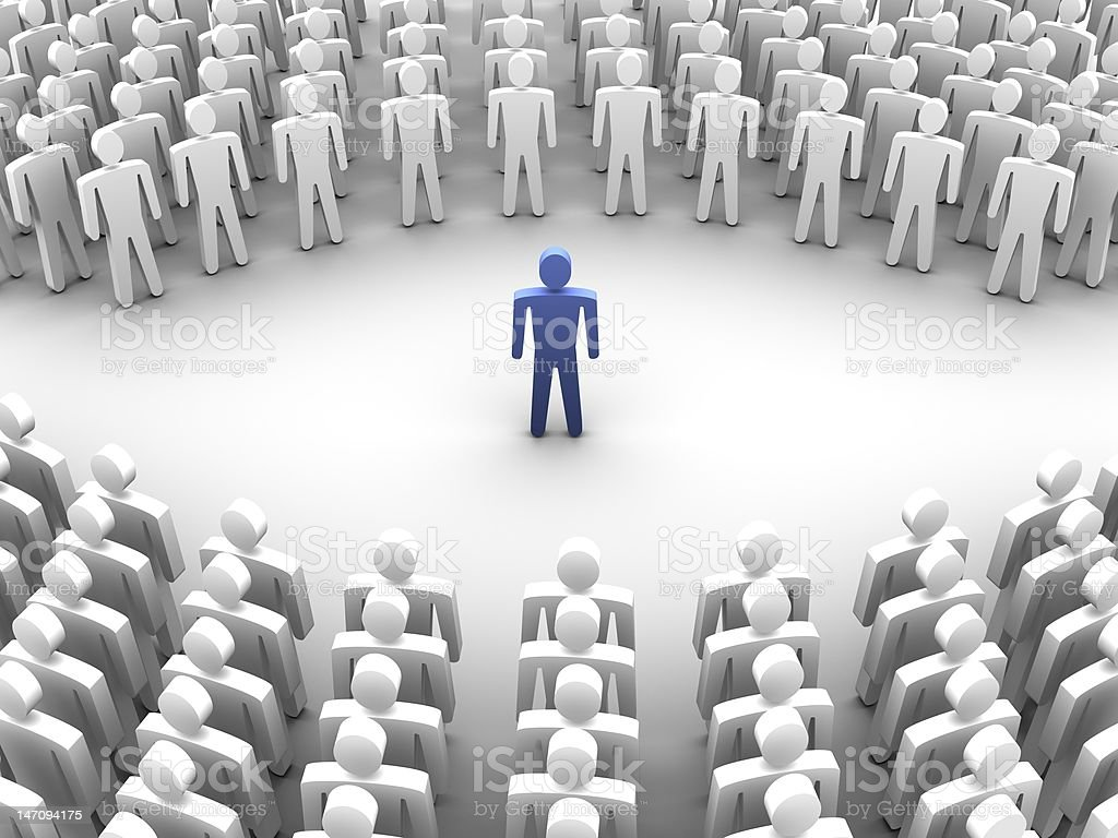 Person surrounded with crowd 3d royalty-free stock photo