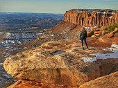 Person, Tourist, Mesa Bluff Cliff, Canyon, Canyonlands National Park, Utah