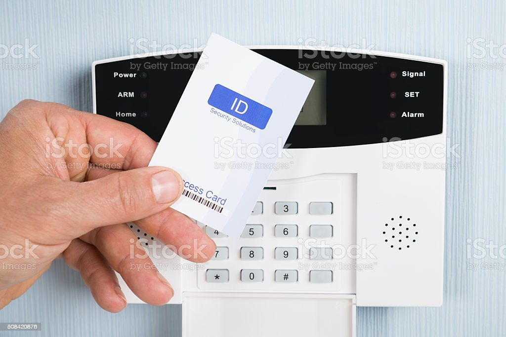 Person Using Security Card stock photo