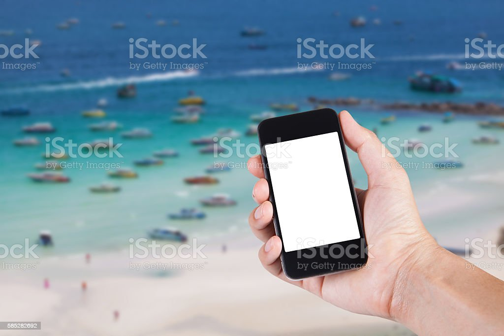 Person using smartphone white screen holder on hand stock photo