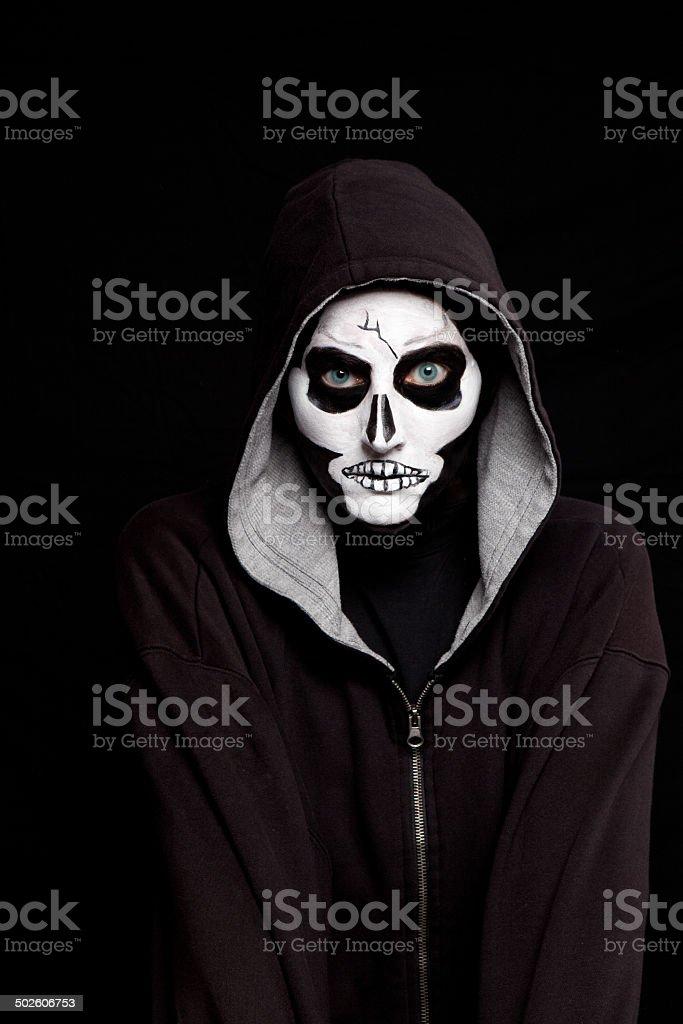 Person Wearing Skull Halloween Makeup stock photo